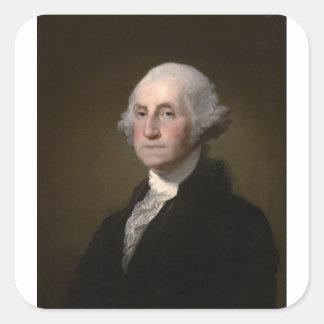 Sticker Carré George Washington - portrait vintage d'art