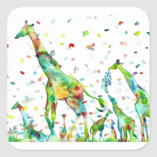 Sticker Carré GIRAFE .2 d'aquarelle