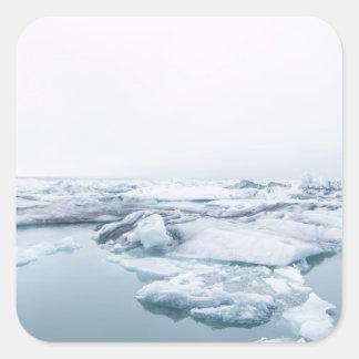 Sticker Carré Glaciers de l'Islande - blanc