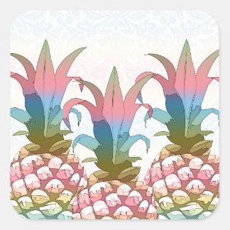 Sticker Carré Gradient en pastel ID246 d'ananas