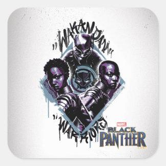 Sticker Carré Graffiti de guerriers de la panthère noire |