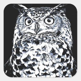 Sticker Carré Grand art de hibou d'oreille