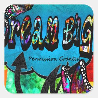 Sticker Carré Grand collage inspiré rêveur