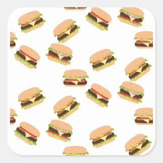 Sticker Carré Grand hamburger savoureux