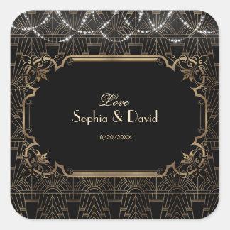 Sticker Carré Grand mariage de l'art déco 20s de Gatsby d'or