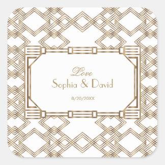 Sticker Carré Grand mariage fascinant de Gatsby d'or blanc