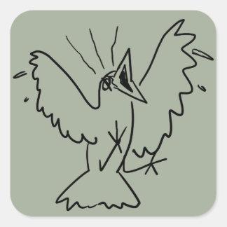 Sticker Carré grand oiseau fâché