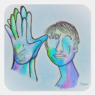 Sticker Carré Grand-père d'ASL dans des traits bleus