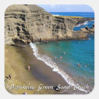 Sticker Carré Grande plage verte de sable d'Hawaï Papakolea