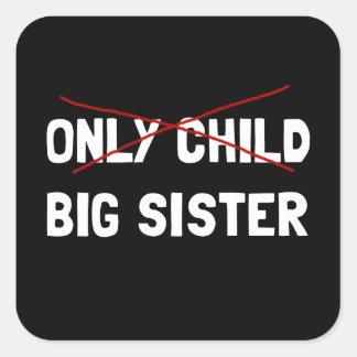 Sticker Carré Grande soeur d'enfant unique