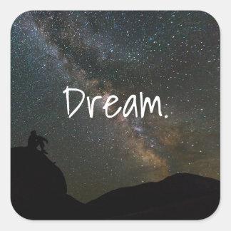 Sticker Carré Grands étoiles de galaxie de rêve fait sur