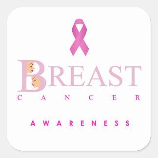Sticker Carré Graphique de conscience de cancer du sein dans des