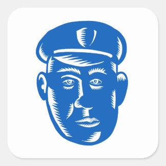 Sticker Carré Gravure sur bois en tête de policier