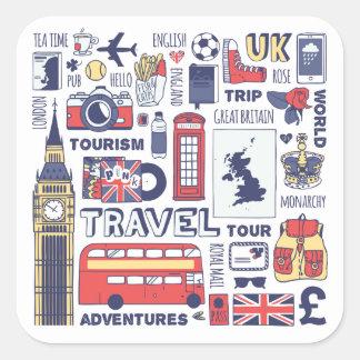 Sticker Carré Griffonnages de voyage de l'Angleterre