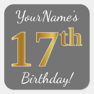 Sticker Carré Gris, anniversaire d'or de Faux 17ème + Nom fait