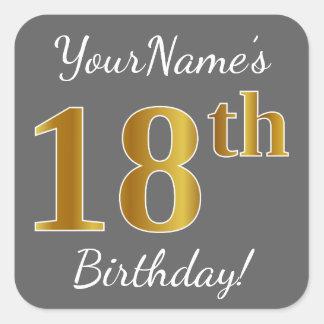 Sticker Carré Gris, anniversaire d'or de Faux 18ème + Nom fait