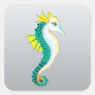 Sticker Carré gris turquoise d'hippocampe