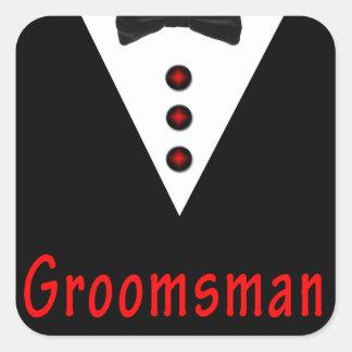 Sticker Carré Groomsman dans Tux