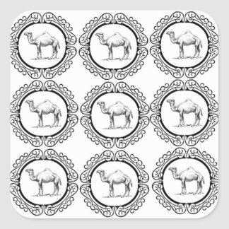 Sticker Carré Groupe de chameau