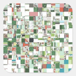 Sticker Carré Groupes chaotiques de vert