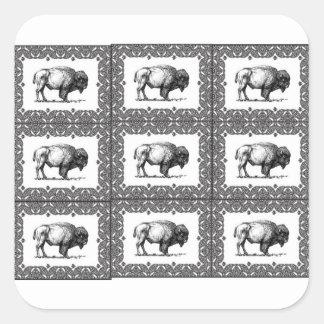 Sticker Carré groupes de bison