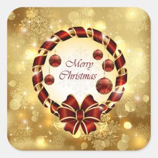 Sticker Carré Guirlande d'or et rouge de Noël avec l'arc et le