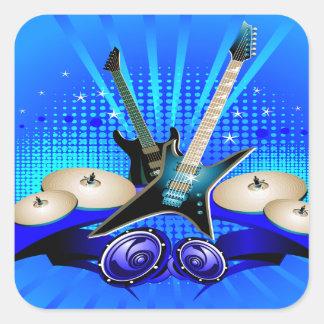 Sticker Carré Guitares électriques, tambours et haut-parleurs
