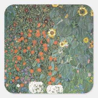 Sticker Carré Gustav Klimt - fleurs de tournesols de jardin de