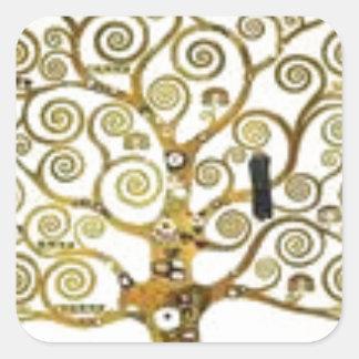 Sticker Carré Gustav Klimt - l'arbre de la peinture de la vie