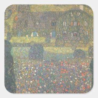 Sticker Carré Gustav Klimt - maison de campagne par l'art