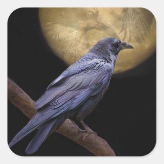Sticker Carré Halloween, style gothique Raven et lune