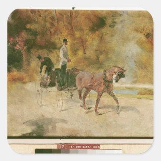 Sticker Carré Henri De Toulouse-Lautrec | un dog-cart