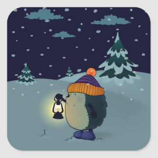 Sticker Carré Hérisson janv. pendant la nuit d'hiver