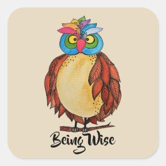 Sticker Carré Hibou magique d'aquarelle avec des plumes