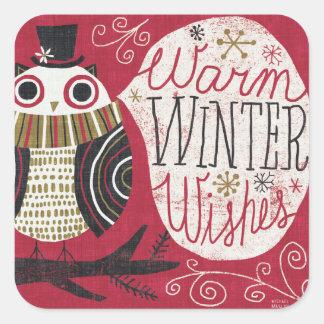 Sticker Carré Hibou original de Noël