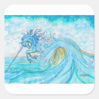 Sticker Carré Hippocampe bleu de cheval de poissons de licorne