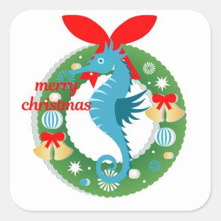 Sticker Carré hippocampe de Joyeux Noël