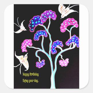 Sticker Carré Hirondelle-et-fruit-arbre-Heureux-Anniversaire