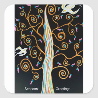 Sticker Carré Hirondelles et Joyeuses Fêtes d'arbre