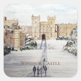 Sticker Carré Hiver à la peinture de paysage de château de