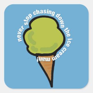Sticker Carré Homme de crème glacée