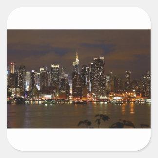 Sticker Carré Horizon de nuit de Manhattan