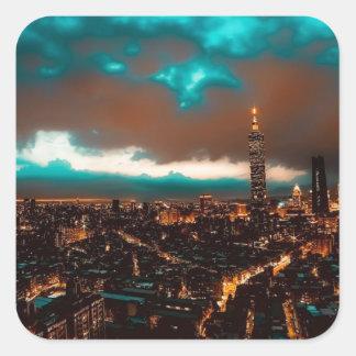 Sticker Carré Horizon de nuit de Taïpeh