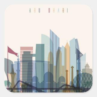Sticker Carré Horizon de ville d'Abu Dhabi, Emirats Arabes Unis
