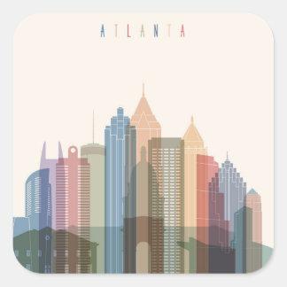 Sticker Carré Horizon de ville d'Atlanta, la Géorgie |
