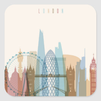 Sticker Carré Horizon de ville de Londres, Angleterre  