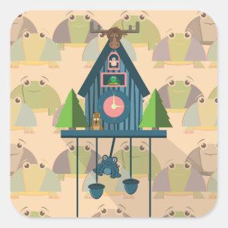 Sticker Carré Horloge de coucou avec le papier peint de tortue