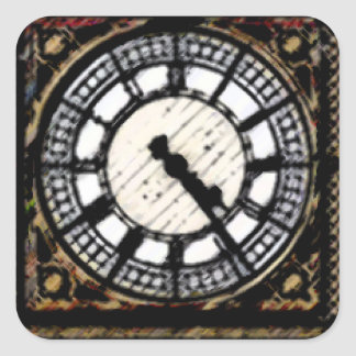 Sticker Carré Horloge-visage de Big Ben en acryliques