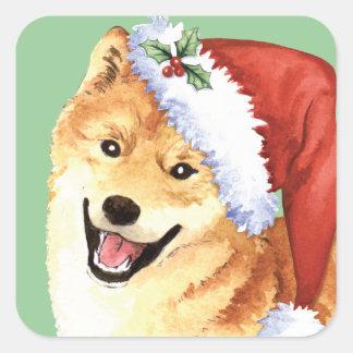 Sticker Carré Howlidays heureux Shiba Inu