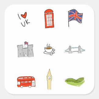 Sticker Carré I coeur R-U, amour britannique, points de repère